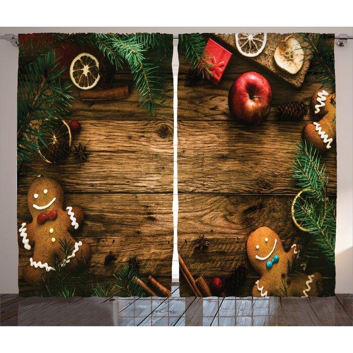 Christmas Decorations Gingerbread Man Gift Box Pine Cinnamon Dessert On Rustic Wood Theme Graphic Print Text Semi Sheer Rod Pocket Curtain Panels