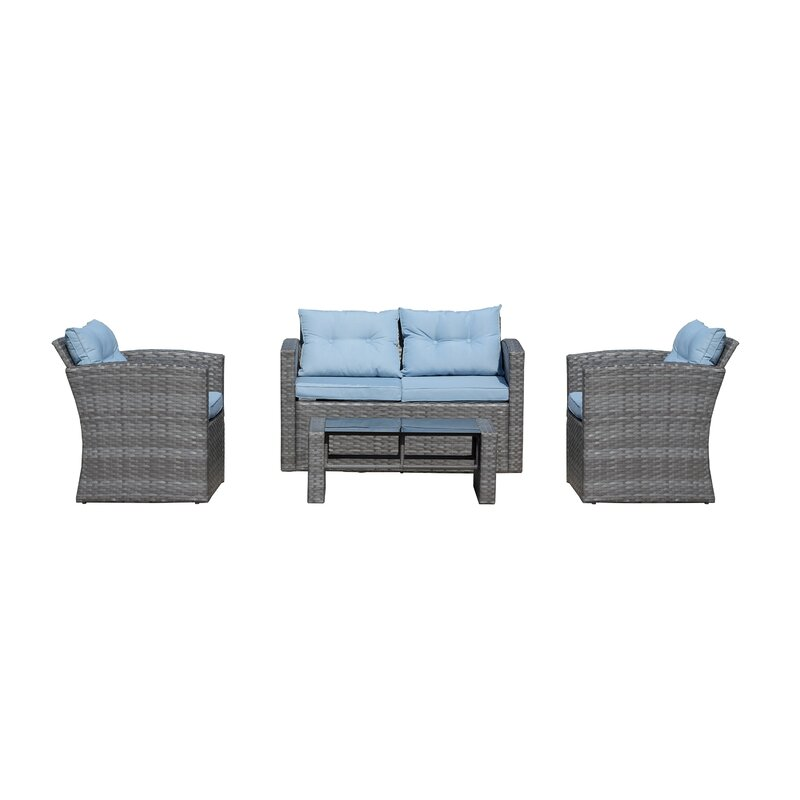 Rawtenstall 4 Piece Sofa Seating Group with Cushions