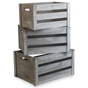 Deep Vintage Manufactured Wood 3 Piece Organiser Box Set By Beachcrest Home