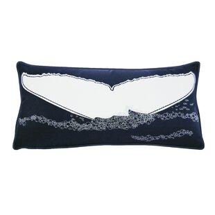 Cayuta Nautical Whales Tail Outdoor Sunbrella Lumbar Pillow
