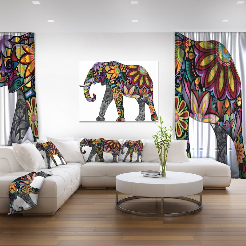 Yellow Cheerful Elephant' wall Art decor - Boho Indian Moroccan