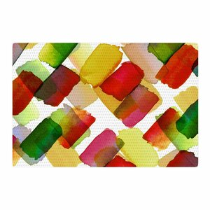 Ebi Emporium Strokes of Genius 4 Gold/White/Green Area Rug