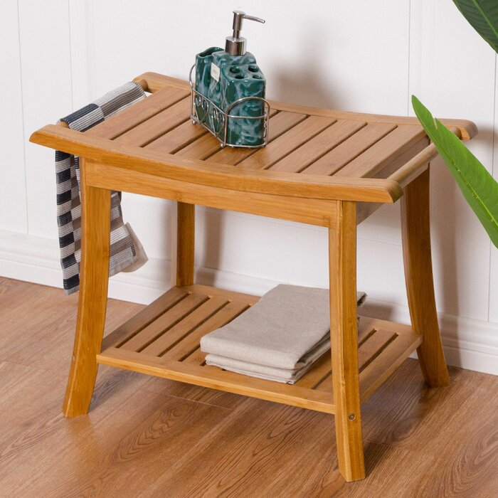 Fynn Bamboo Shower Bench With Storage Shelf