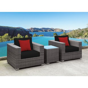 Yeager 3 Piece Rattan Sofa Set with Cushion