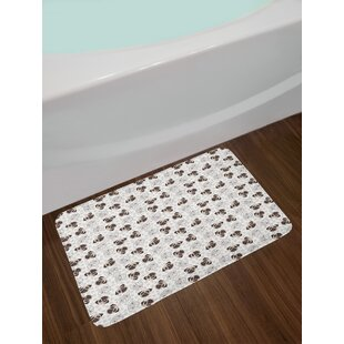 Ambesonne Dog Bath Mat by, Pug Portraits Traces Paw Print Background Canine Pet Illustration Mammal Animal, Plush Bathroom Decor Mat with Non Slip Backing, 29.5 W X 17.5 W Inches, Beige Brown Tan