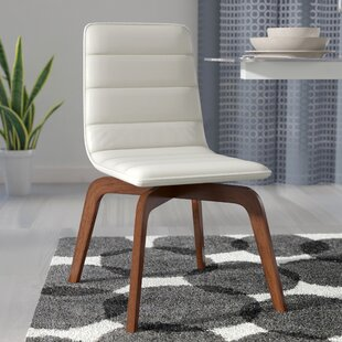 Wade Logan Swainswick Genuine Leather Upholstered Dining Chair (Set of 2)