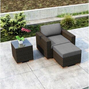 Glen Ellyn 3 Piece Patio Chair with Sunbrella Cushion by Everly Quinn