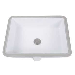 Nantucket Sinks Great Point Vitreous China Rectangular Undermount Bathroom Sink with Overflow