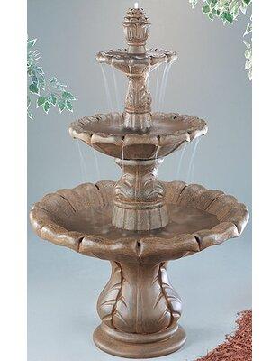 Tiered Concrete Classical Finial Waterfall Fountain Henri Studio Finish Aged Iron