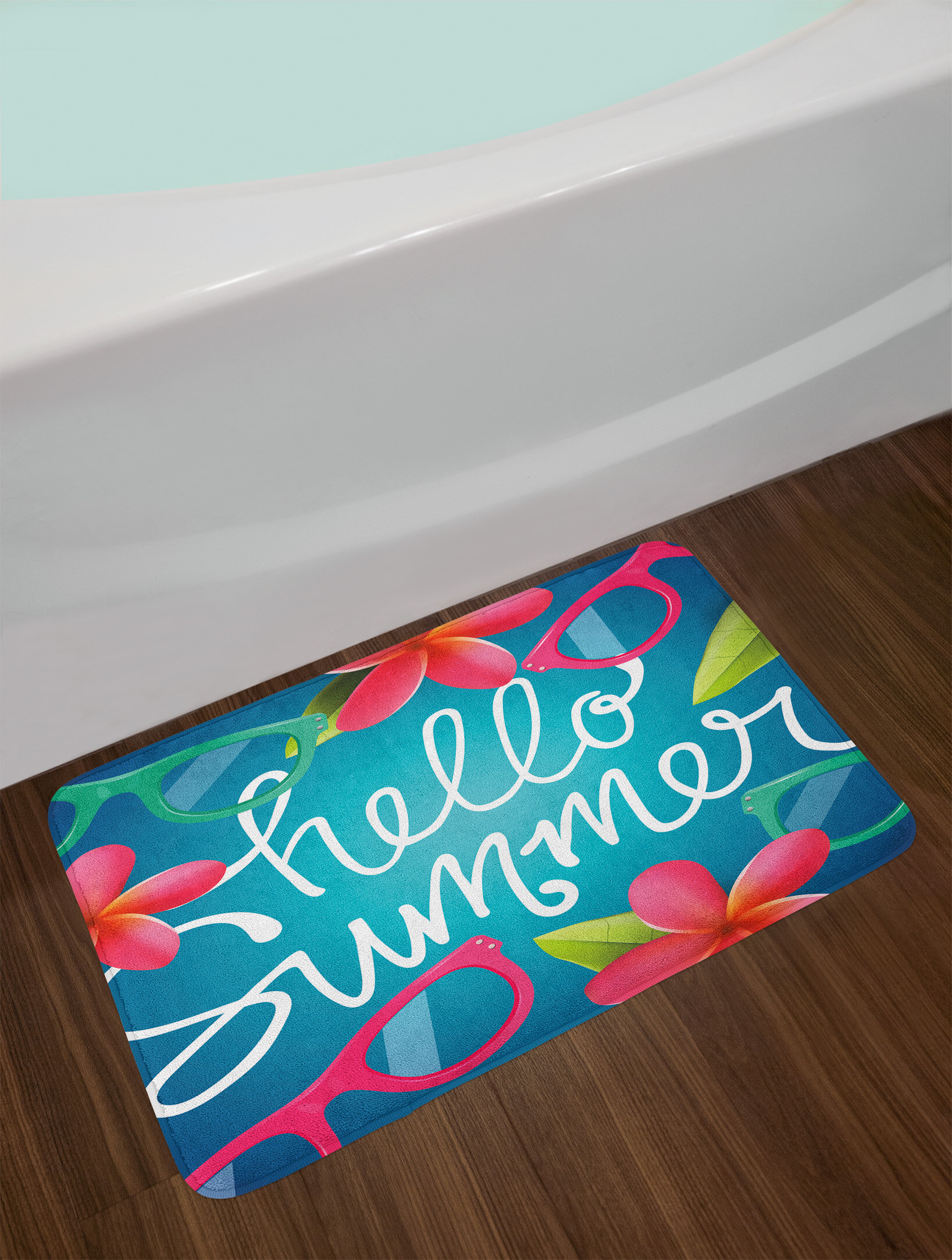 Ambesonne O Summer Bath Mat By Funky Ilration Of Images Colorful Sungles And Frangipani Buds Plush Bathroom Decor With Non