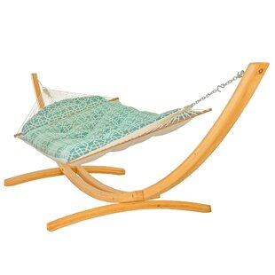Francis Tufted on the Deluxe Double Tree Hammock with Stand by Breakwater Bay