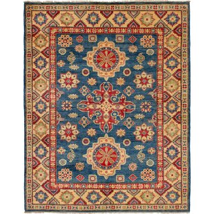 One Of A Kind Noriko Hand Knotted Navy Blue Wool Area Rug