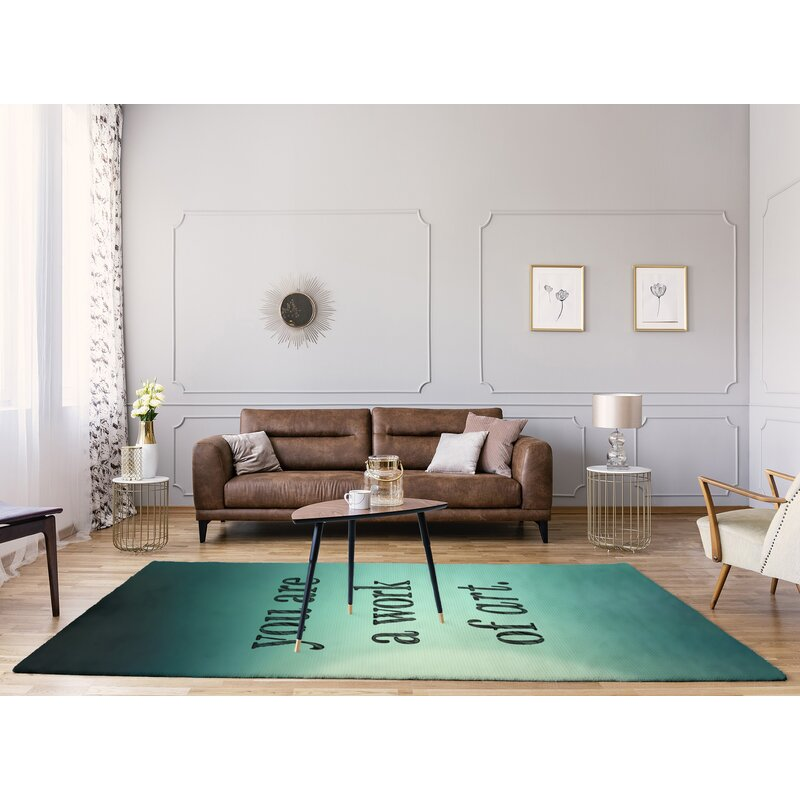 East Urban Home Multicolor Background Work Of Art Quote Poly Chenille Rug Wayfair
