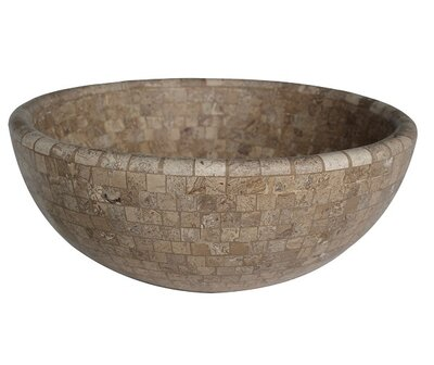 mosaic natural stone circular vessel bathroom sink