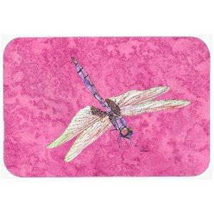 Dragonfly on Pink Kitchen/Bath Mat