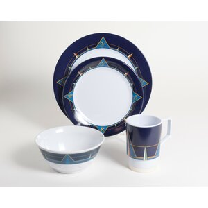 Decorated Melamine Compass 16 Piece Dinnerware Set, Service for 4