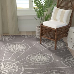 Shelborne Compass Hand-Tufted Gray Indoor/Outdoor Area Rug