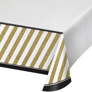 Black and Gold Plastic Disposable Tablecover