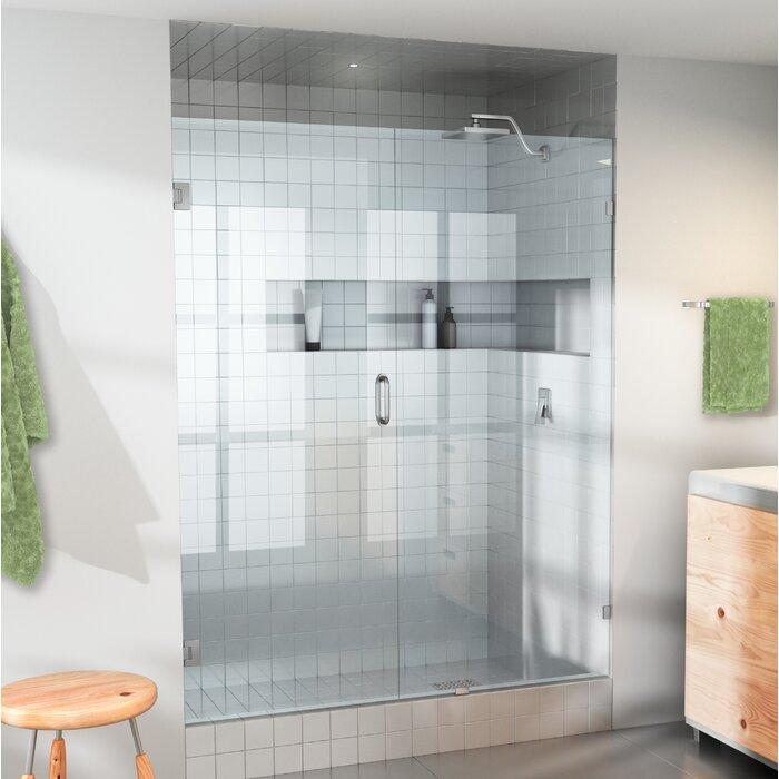57 5 X 78 Hinged Frameless Shower Door