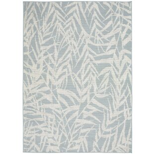 Roxy Leaves Light Blue Indoor/Outdoor Area Rug