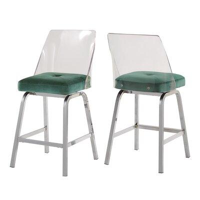 Everly Quinn Haskell 24 Swivel Bar Stool Upholstery: Teal