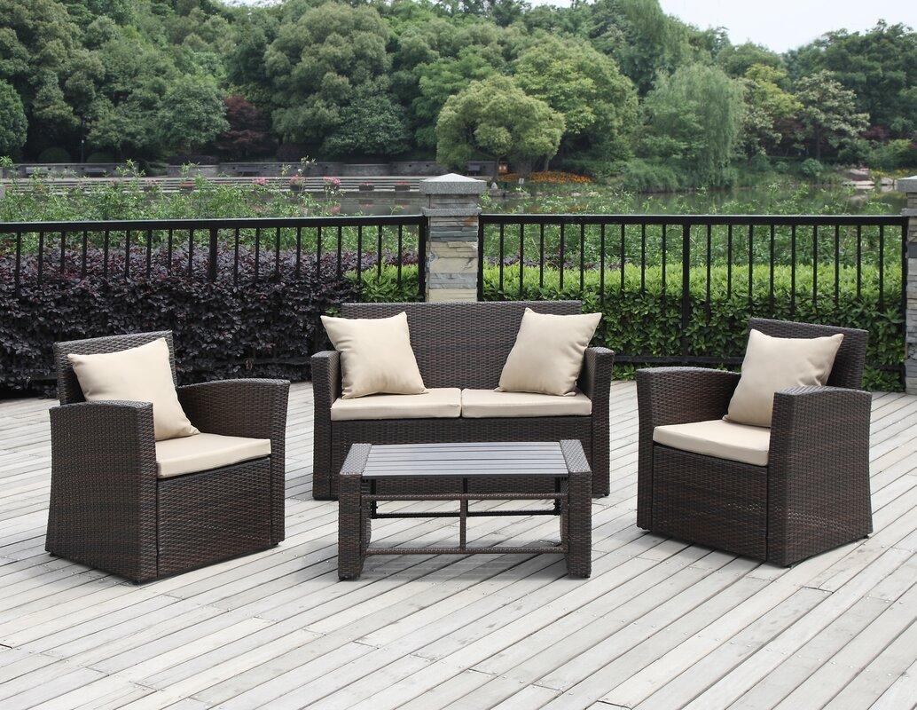 Handy Living La Jolla Piece Deep Seating Group With Cushions - La jolla patio furniture