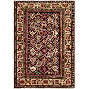 Best Reviews One-of-a-Kind Alayna Hand-Knotted 4' x 6' Wool Black/Beige Area Rug By Isabelline