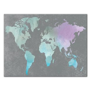World map push pin wayfair world map watercolor painting print on wrapped canvas gumiabroncs Image collections
