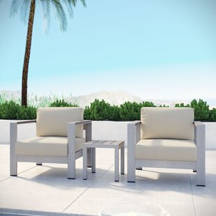 Coline Contemporary 3 Piece Outdoor Patio Aluminum Sectional Chair Set with Cushions by Orren Ellis