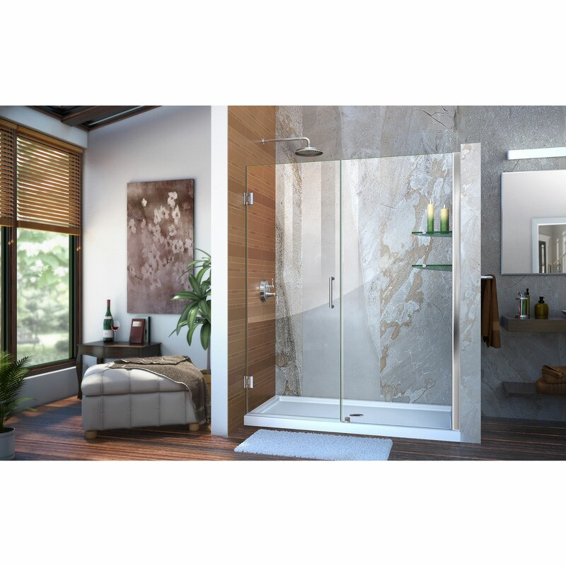 Unidoor 57  x 72  Hinged Frameless Shower Door with Clearmax™ Technology  sc 1 st  Wayfair & DreamLine Unidoor 57