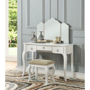 Astoria Grand Caden Tri Fold Vanity Set with Mirror