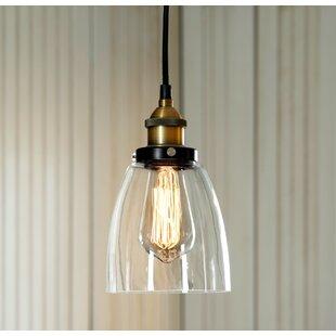 Gracie Oaks Maximus Glass 1-Light Cone Pe..