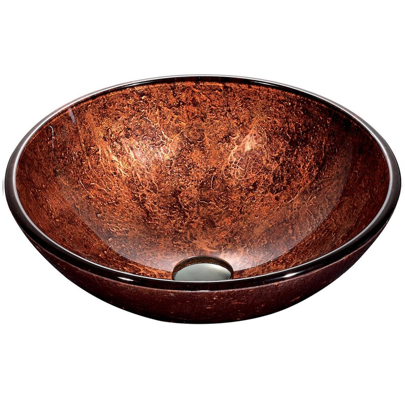 Vigo Copper Tempered Glass Handmade Circular Vessel Bathroom Sink Reviews Wayfair