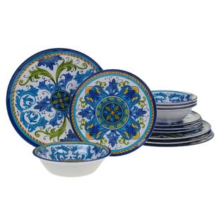 Filion 12 Piece Melamine Dinnerware Set, Service For 4