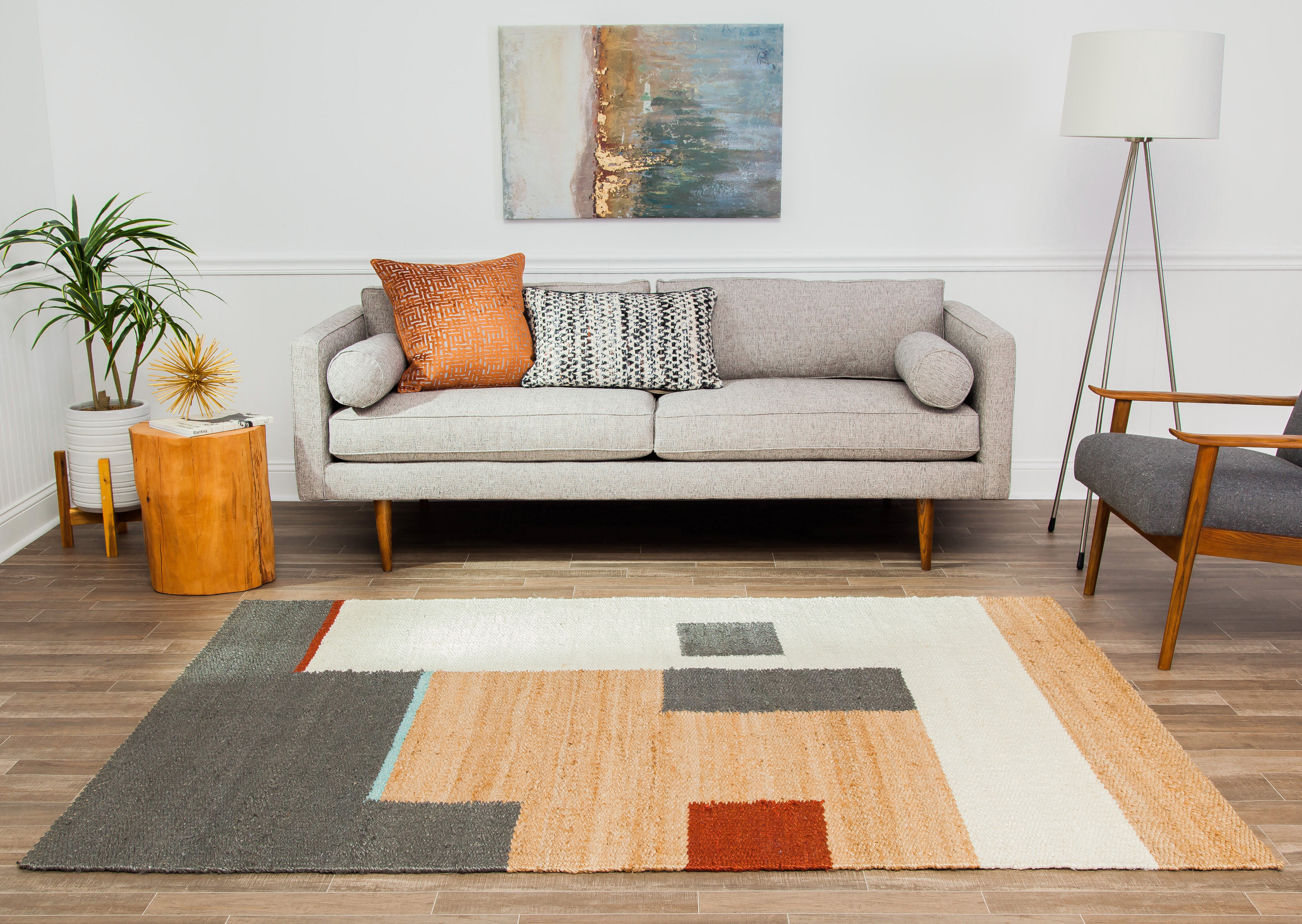 Geometric Handwoven Jute Sisal Tan Black Gray Area Rug Reviews Allmodern