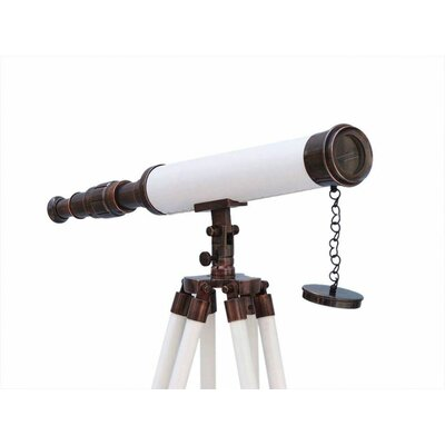 Harbor Master Refracting Telescope Handcrafted Nautical Decor Finish: Antique Copper/White Leather