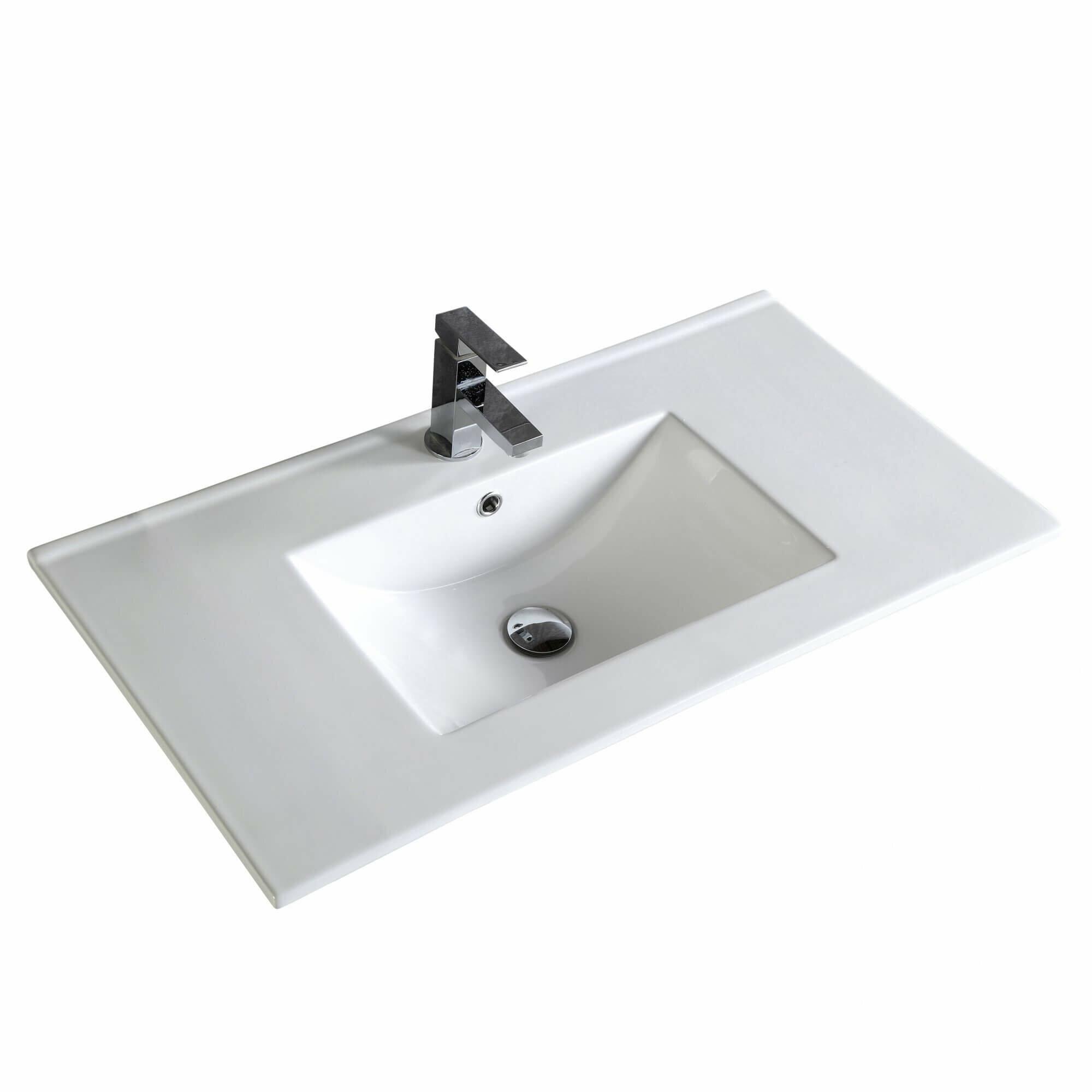 Fine Fixtures Frameport 36 Single Bathroom Vanity Top In White With Sink Reviews Wayfair