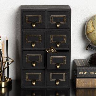 Gracie Oaks Kristian Apothecary Wood Vertical 8 Drawer Desktop Organizer