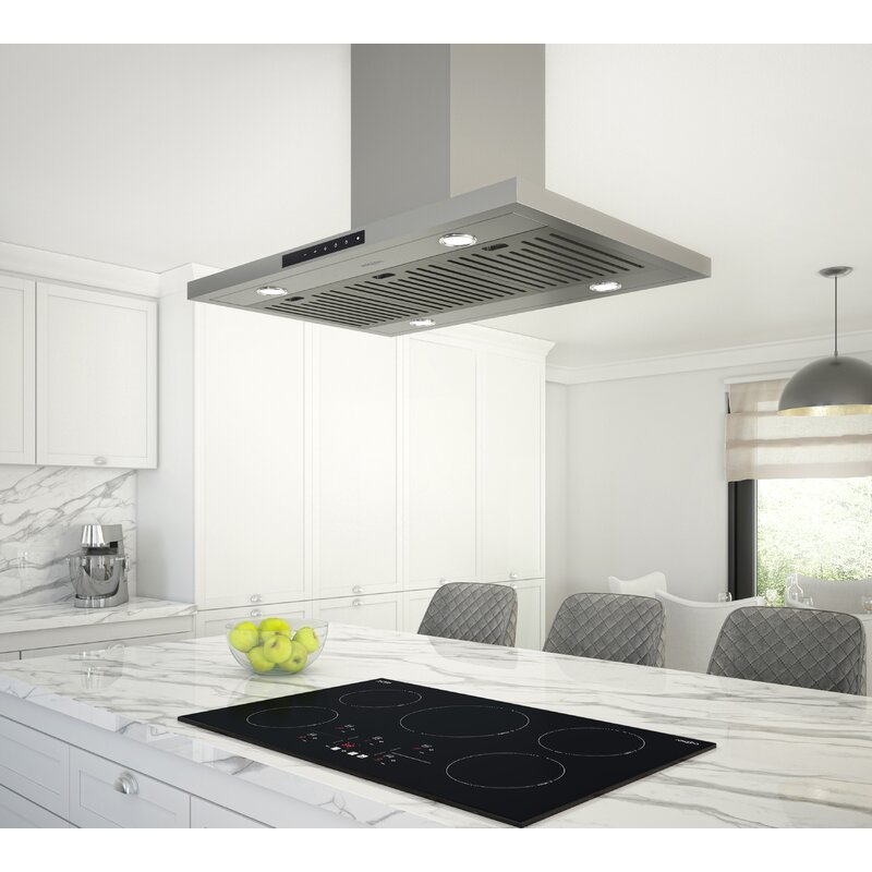 Ancona 36 Night Light 650 Cfm Convertible Island Range Hood In Stainless Steel Wayfair
