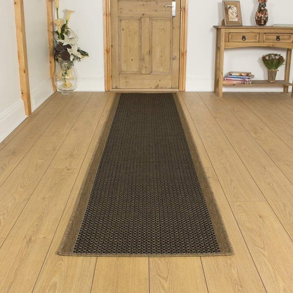 Baptist Flatweave Brown/Black Hallway Runner Rug