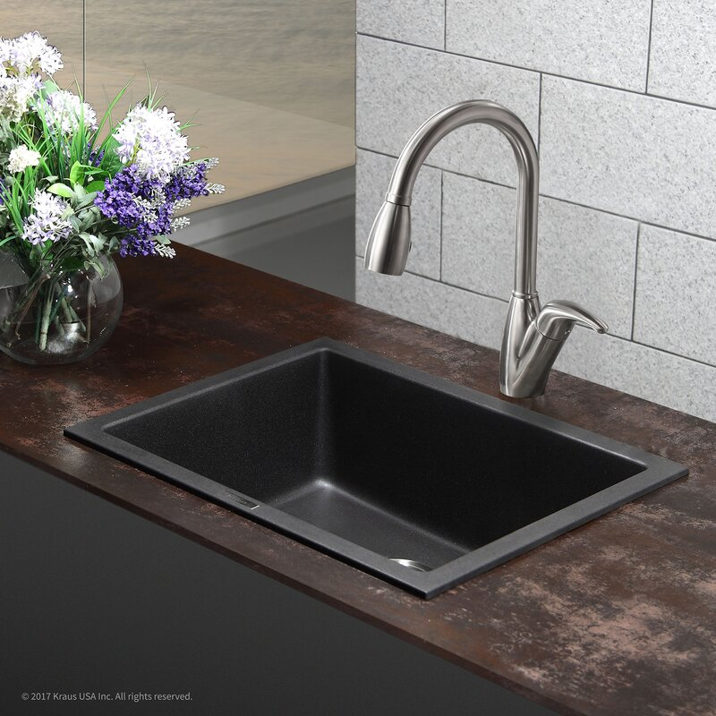 "Granite Undermount Kitchen Sinks kraus granite 24"" x 18"" undermount kitchen sink & reviews 
