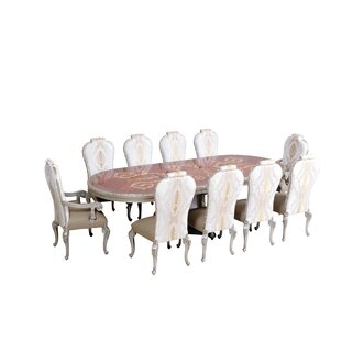 Phaedra Removable 9 Piece Leaf Solid Wood Dining Set