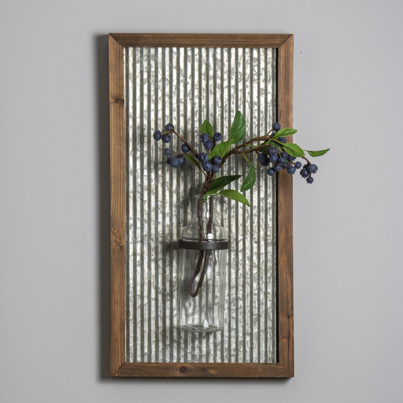 Floral Wall Vases - Kollman Gray/Brown 19'' Metal Wall Vase