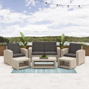 Guimond Patio 6 Piece Rattan Sofa Set with Cushions