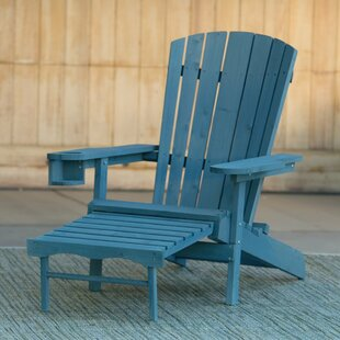 Creek Solid Wood Lightweight Adirondack Chair With Ottoman by Highland Dunes No Copoun