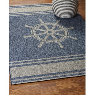Weese Nautical Helm Navy/Gray Indoor/Outdoor Area Rug by Breakwater Bay