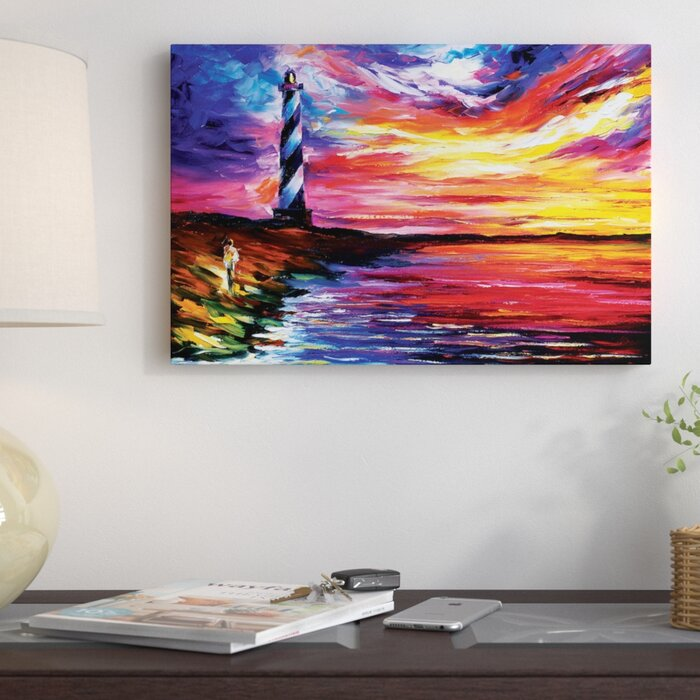 'Lighthouse' Painting Print on Wrapped Canvas