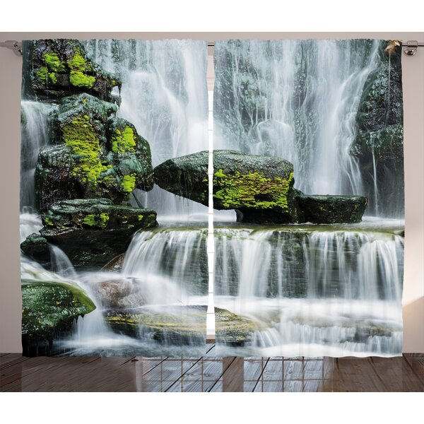 East Urban Home Graziella Waterfall Majestic Waterfall Blocked With Massive Rocks With Moss On Them Graphic Print Text Semi Sheer Rod Pocket Curtain Panels Wayfair