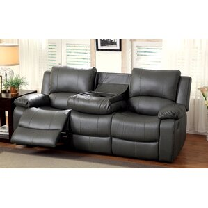 Wellersburg Leather Reclining Sofa by Darby Home Co