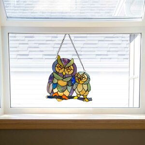Friendly Owls Tiffany Style Stained Glass Window Panel